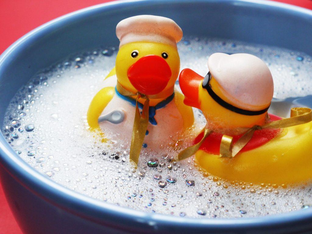 2 rubber ducks in a tub